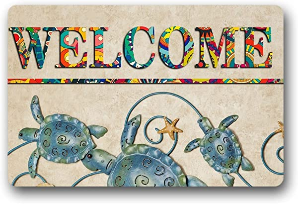 Sea Turtles And Star Welcome Door Mat Indoor Outdoor Rubber Non Slip Nonwoven Entry Way Doormat For Patio Front Door 15 7x23 6inch
