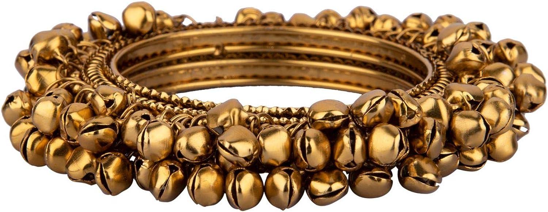 Efulgenz Boho Vintage Antique Gypsy Tribal Indian Oxidized Gold Plated Bell Charm Bracelet Bangle Set Jewelry