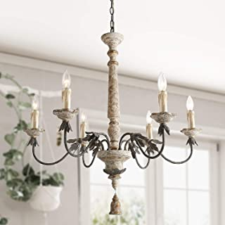 LALUZ 6 Lights French Country Chandelier with Metal Flower Arms in Distressed Wood and Rusty Steel Finish, 31.1