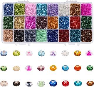 Janjunsi 2mm Mini Glass Beads for DIY Bracelet Art & Jewellery-Making, Girls Gift, Bead String Making Set (38400pcs, Full ...