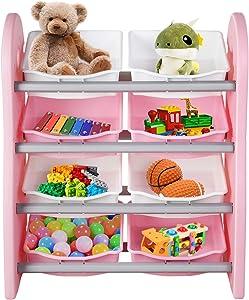 POTBYKidsToyStorageOrganizer, 4 Layer Children Play Collection Shelves Bookshelf, with 8PlasticDrawers Bins, for GirlsandBoys in BedroomPlayroomLivingRoom (Pink)