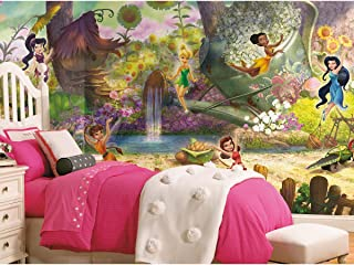 RoomMates JL1279M Disney Fairies Pixie Hollow Water Activated Removable Wall Mural-10.5 x 6 ft, Multicolor, Set of 7 Pieces