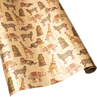 Caspari Wild Christmas 30 in. x 8 ft. Wrapping Paper Rolls in Gold Foil, 2 Rolls Included
