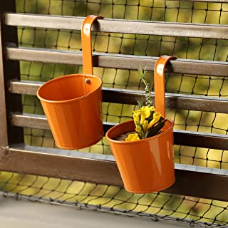 ExclusiveLane 'Tiny Orange' Garden and Balcony Decorative Metal Hanging Railing and Table Flower Planter Pot (Set of 2)