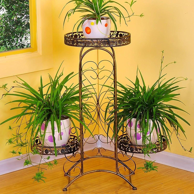 Flower Stand Shelf Multi Layer Metal Painting Plant Pot Racks Multi Purpose Balcony Living Room Flower Display Shelf (color   Yellow Bronze)