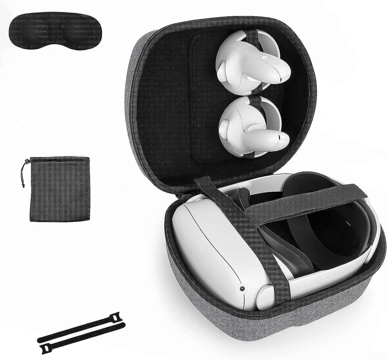 Funda Estuche para Oculus Quest & Oculus Quest 2 & Oculus Quest 2 Elite Strap Auriculares Gafas de Realidad Virtual,Caja Cubrir rígido de EVA Bolso de protección de Viaje Caso Bolsa(Gray)