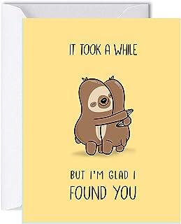 Sloth Anniversary Card for Her Him, Cute Birthday Card for Boyfriend Girlfriend, Friendship Greeting Card