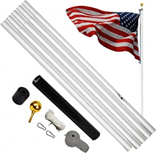 A-ONE 20FT Super Thick Aluminum Sectional American Flag Pole, Super Tough Heavy Duty US Outdoor Residential Flagpole Kit with Golden Ball Topper & Two Aluminum Snap Hooks, Silver