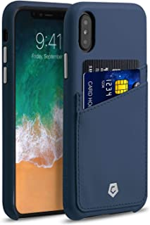 """Apple iPhone Xs/X Case, Cobble Pro Premium Handcrafted Slim Fit Wallet Leather Case Cover with Credit Card Holder ID Slot for Apple iPhone Xs/X 5.8"""" [Wireless Charging Compatible], Dark Blue"""