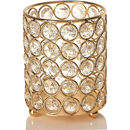 VINCIGANT Gold Cylinder Crystal Tea Light Candle Holders Centerpieces/Decorative Candle Lantern for Wedding Home Decoration