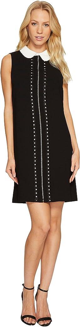 Sleeveless Eyelet Embroidered Collared Dress
