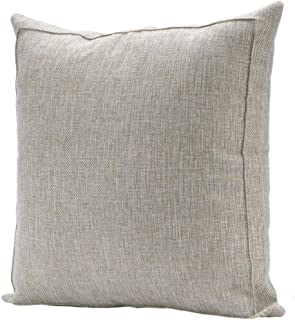 Bursonvic Throw Pillow Case Cushion Cover, Linen Burlap Home Farmhouse/Modern Decorative Square Solid Pillow Cover for Sofa/Couch/Bed (16 x 16 Inches, Beige)
