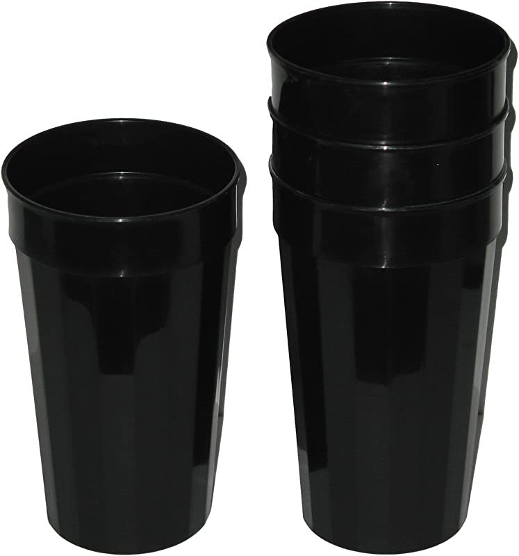 Talisman Plastic Fluted Drinking Tumblers Large 32 Ounces 12 Pack Black