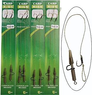 JSHANMEI 4packs Carp Hair Rigs Braided Line Heavy Duty Lead Clips Hook Swivel Boilies Carp Fishing Rig Terminal Tackle Kit Size 2 4 6 8