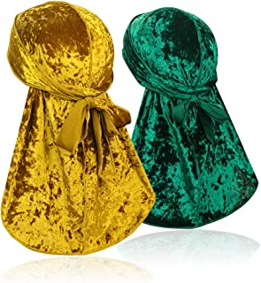 ASHILISIA 2 PCS Crushed Velvet Wave Durag -Premium Soft Durag Headwear with Extra Long Tail Perfect for 360 Waves