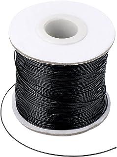 Nachahmung Leder Thread Geflochten Gewachst String, Schwarz 160 Meter, 0,5 mm Durchmesser
