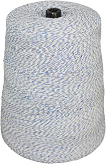 Cotton Bakers Twine - SGT KNOTS - Craft String - 2 Pound Cone - Polypropylene Blended Bakers Cord - All-Purpose Kitchen String - for Crafting, Kitchen, & Workplace (4 ply - 10080 ft - Blue / White)