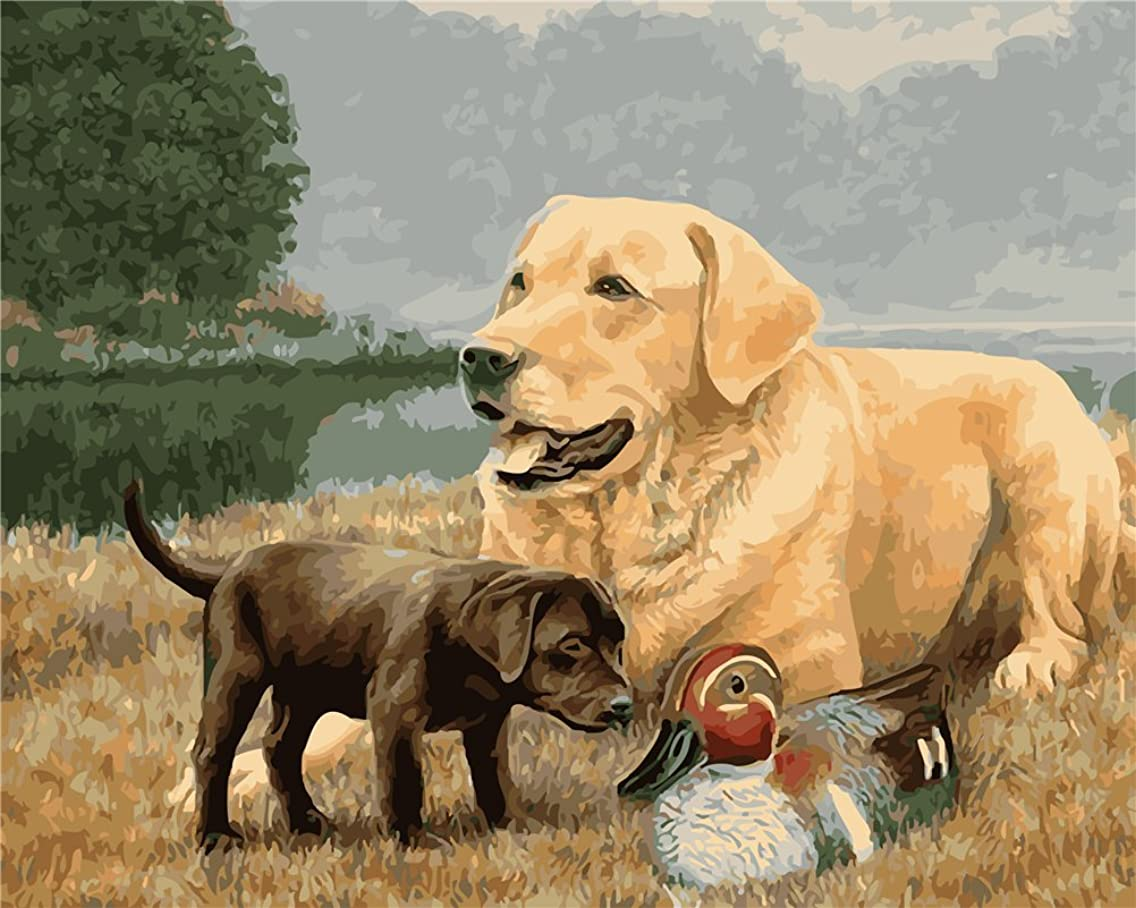 CaptainCrafts New Paint by Numbers 16x20 for Adults Beginner Children, Kids LINEN Canvas - Two Dogs And Ducks (Frameless)