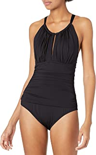 Kenneth Cole New York Women's High Neck Keyhole Halter One Piece Swimsuit