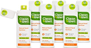 CleanWell Botanical Antibacterial Hand Sanitizer Spray, Orange Vanilla, Travel Size, 1 oz, (Pack of 6) - Plant-Based, Alcohol-Free, Kid Friendly, Kills Germs botanically, Biodegradable Solution