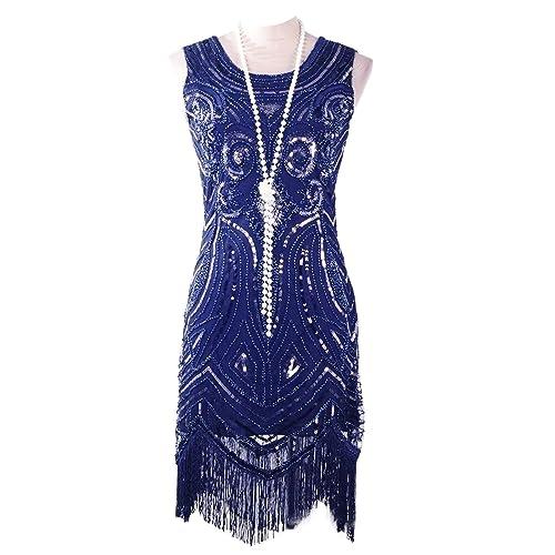 b9042f0291d Vijiv Women s 1920 s Vintage Gatsby Bead Sequin Art Nouveau Deco Flapper  Dress