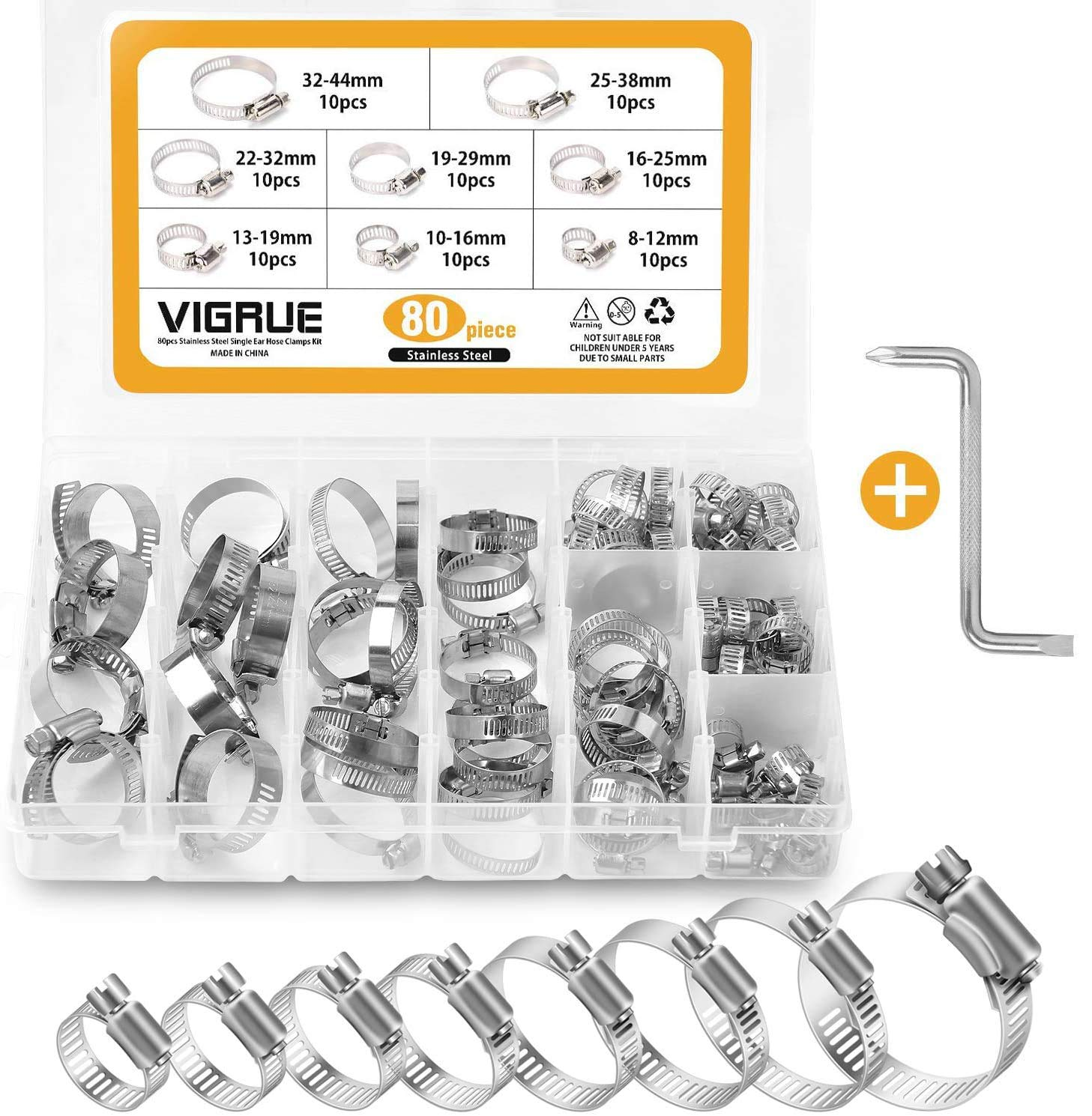 Amazon Com Vigrue Hose Clamps Assortment 100 304 Stainless Steel Adjustable Worm Gear Hose Clamps 80pieces With Wrench Fuel Line Clamp For Plumbing Automotive And Mechanical Applications 8 44mm Range Home Improvement