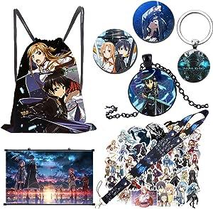 Sword Art Online Poster + 50 PCs SAO Stickers + Drawstring Bag Set