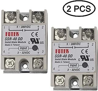 TIHOOD 2PCS SSR-40DD 40A Solid State Relay DC 3-32V DC 5-200V (SSR-40DD)