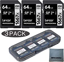 Lexar Professional 1667 x 64GB SD XC Memory Card 3-Pack (250 mb/s)