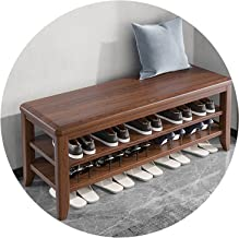 JIANFEI Schoenenrek bank, massief houten frame dubbellaags schoen organizer plank, kan zitten entryway kruk voor thuis hal...