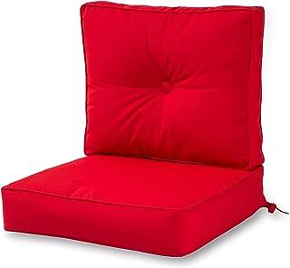 Greendale Home Fashions Outdoor Sunbrella Deep Seat Chair Cushion Set, Jockey Red