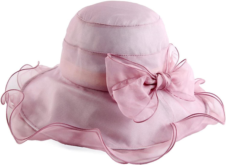 EqEUEZQr Floral Bow Organza Foldable Wide Brim Floppy Beach Hats for Women Adjustable Silk Sun Caps Cameo Brown