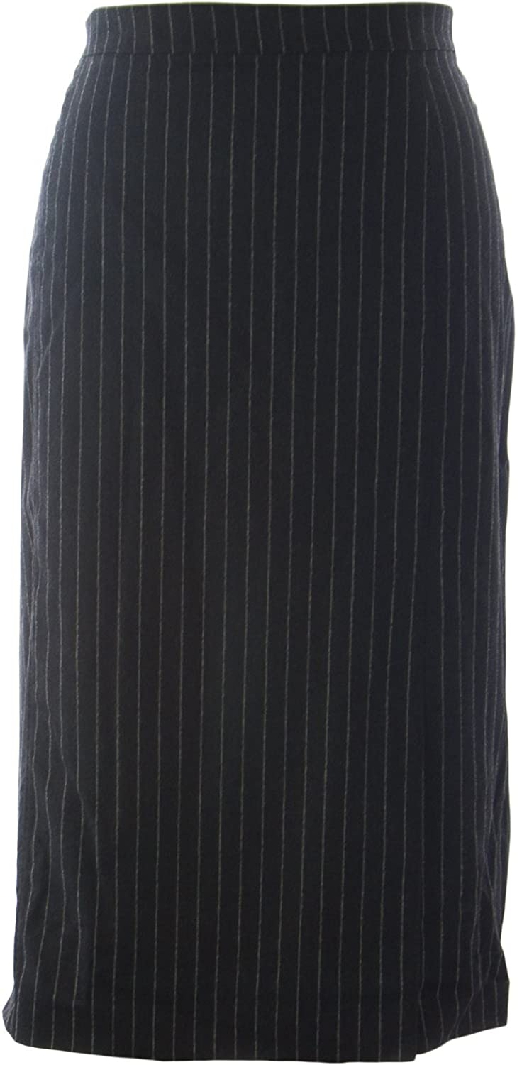 Marina Rinaldi Women's Chopin Pinstripe Wool Skirt Grey