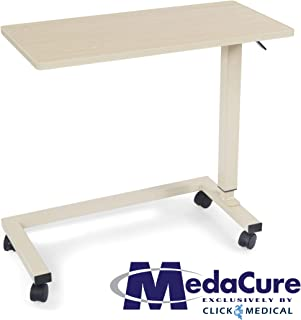 Medical Height Adjustable Overbed Table - Flame Resistant and Anti-Spill Rim - Heavy Duty Steel Frame and Swivel Locking Casters for Home, Hospital,Laptop, and Breakfast– 50lb Weight Capacity. (Oak)