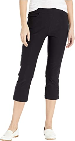 Stretch Bengaline Flatten It Pull-On Capris w/ Snap Detail