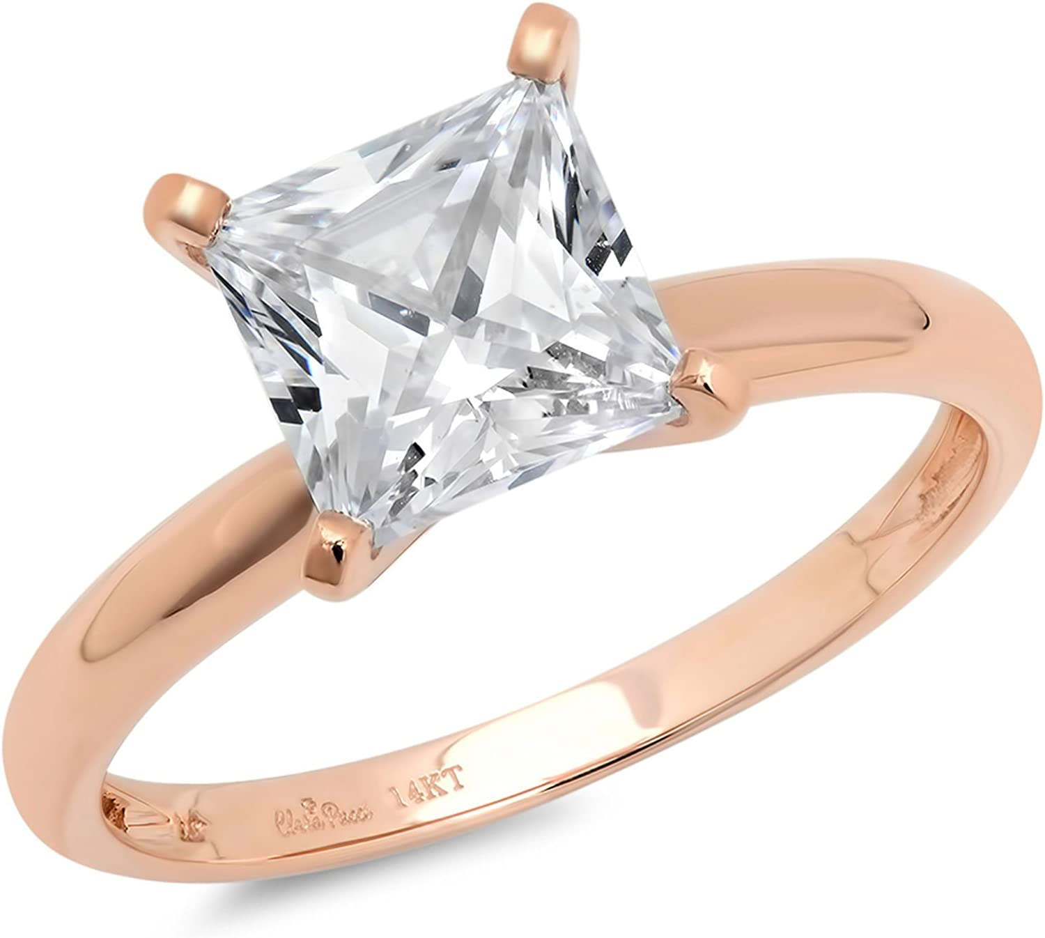14k Rose Gold 1.97cttw Classic Princess Cut Solitaire Moissanite Engagement Promise Ring Statement Anniversary Bridal Wedding by Clara Pucci