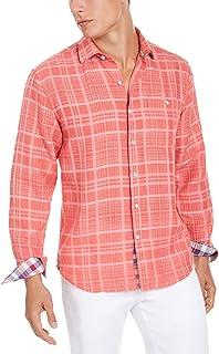 TOMMY BAHAMA Mens Blue ROMARIO Linen PLAID LS Hawaiian Camp Shirt XL  NWT