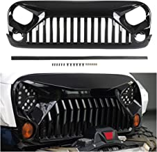Topfire Upgraded Front Grill with Strip, Clips and Rivets for Jeep Wrangler Rubicon Sahara Sport JK/JKU 2007-2018 (Gloss Black, Painted)