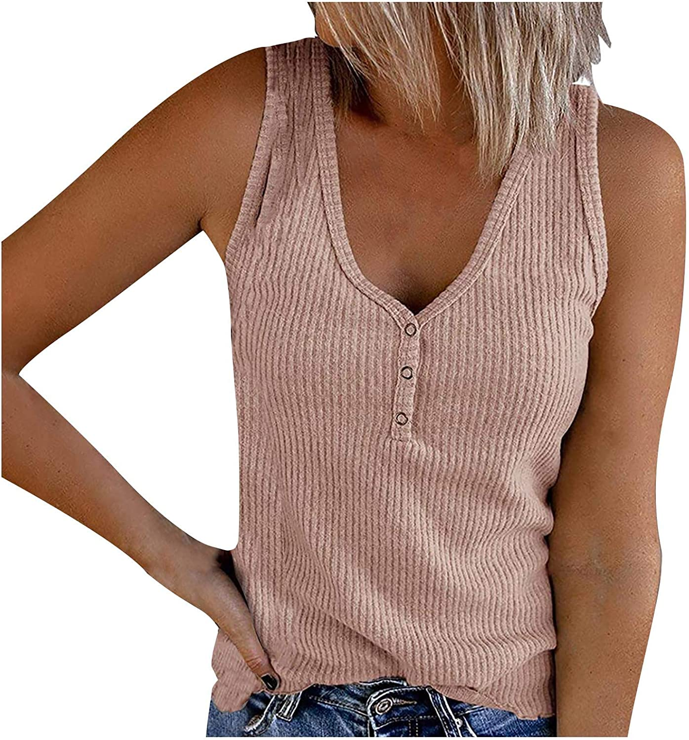 Lovor Summer Tank Tops for Women Waffle Knit Tunic Tops V Neck Henley Sleeveless Button Up Shirts Loose Blouses Vests