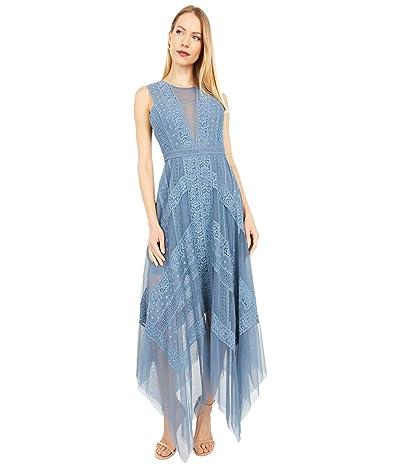 BCBGMAXAZRIA Lace Asymmetric Dress (Smoke Blue) Women