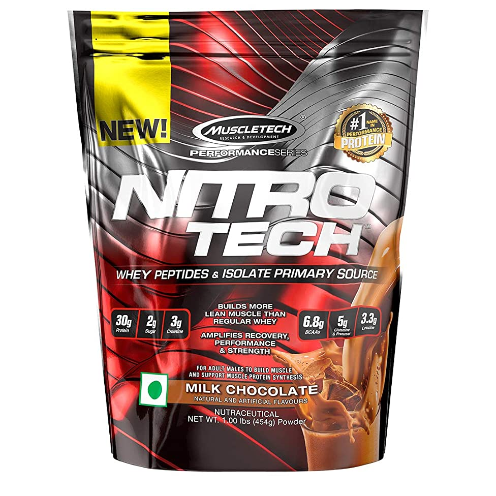 MuscleTech NitroTech Protein Powder Plus Muscle Builder, 100% Whey Protein with Whey Isolate, Milk Chocolate, 10 Servings (1lbs)