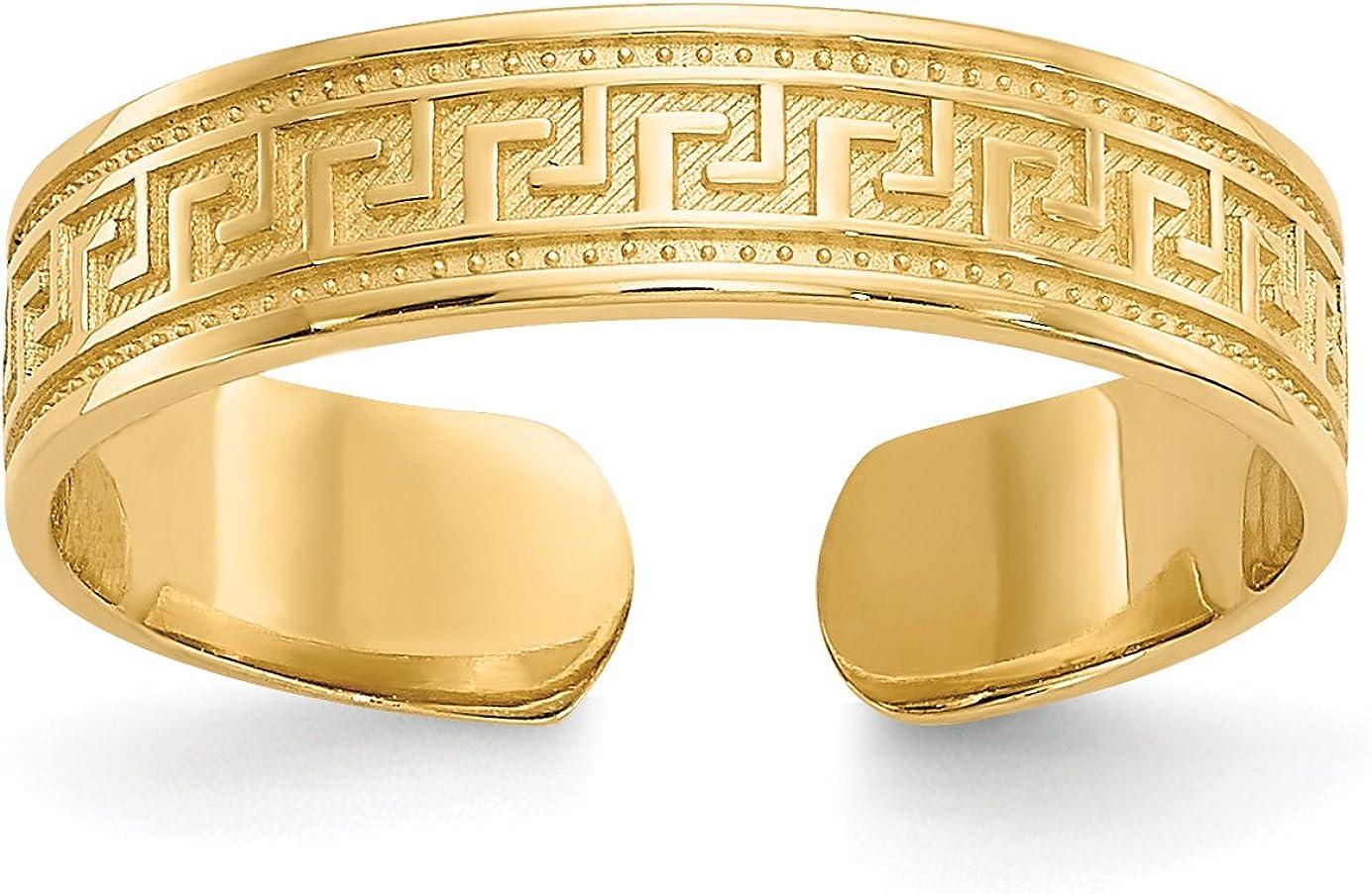 14k Yellow Gold Greek Key Pattern on Textured Toe Ring