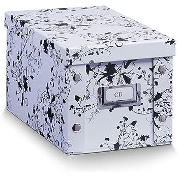 Zeller 17845 Caja de almacenaje de cartón Blanco (White Floral ...