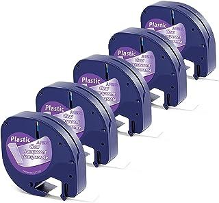 Aken Ruban compatible pour Dymo Letratag Ruban Plastique Transparent 12mm x 4m Noir sur Transparent, Recharge pour Dymo Le...