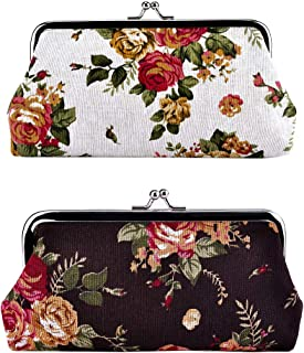 """Oyachic 2 Packs Coin Purse Cell Phone Pouch Rose Pattern Clasp Closure Wallet 7.1""""L X 3.5"""" H"""