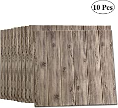 LEISIME 3D Wall Sticker Self-Adhesive Wall Panels Waterproof PE Foam Wood Veins Wallpaper for Living Room TV Wall and Home Decor (Wood 10 Pack - 58 Sq Ft)