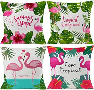 Wilproo Tropical Green Leaves Decorations Throw Pillow Covers 4 Pack Tropical Palm Monstera Leaves Print Summer Green Decor Outdoor Couch Sofa Home Pillow Covers 20x20 Inch