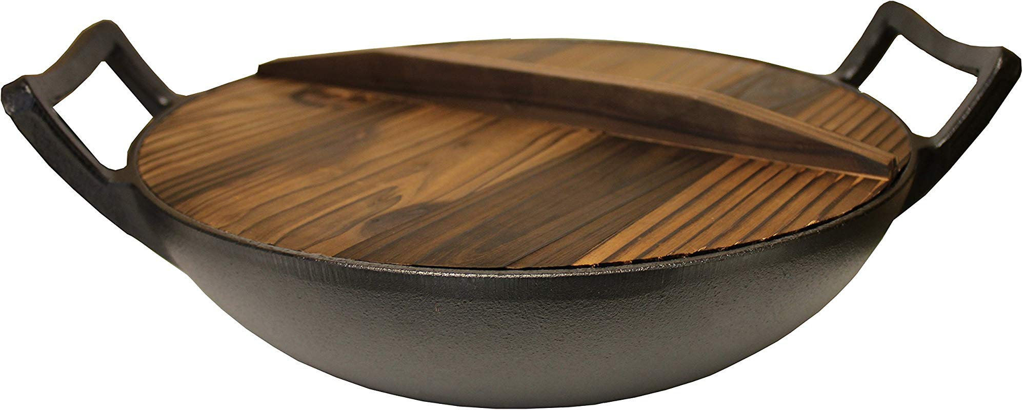 Kasian House Cast Iron Wok Pre Seasoned With Wooden Lid 12 Diameter And Large Handles Stir Fry Pan