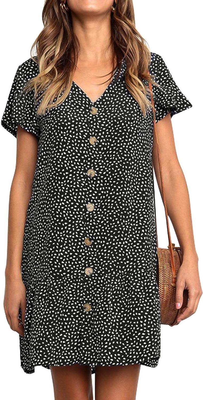 Fleur Wood Womens Polka Dot V Neck Button Down Ruffles Loose Mini Short T-Shirt Dress
