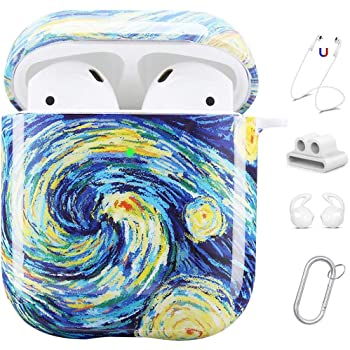 Maxjoy Compatible AirPods Case Cover, Cute Hard Case Protective Cover with Keychain/Strap/Earhooks/Watch Band Holder Compatible with Apple AirPods Charging Case 2&1 for Girls Women Men, Starry Night